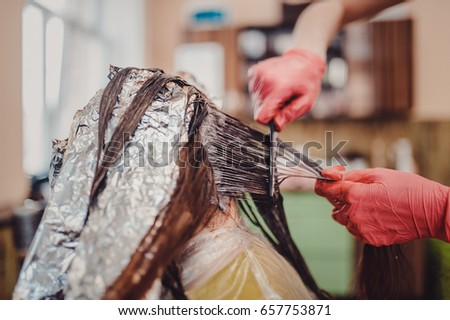 Woman Gloves Dying Hair Hair Dyeing Stock Photo 657753871 - Shutterstock