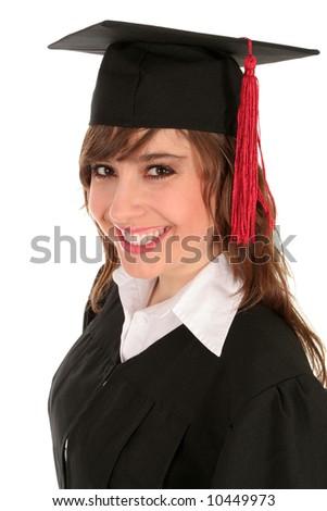 Woman in graduation cap - stock photo