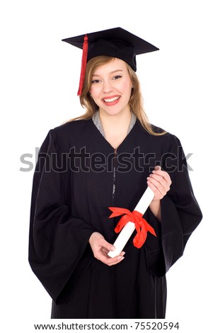 Woman in graduation robes holding a diploma