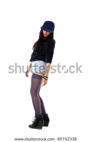 woman in grunge style hide face with baseball cap