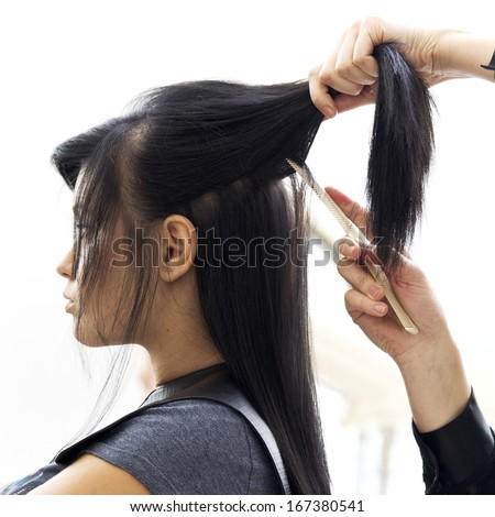 Woman in hairdressing salon do hair style.  - stock photo