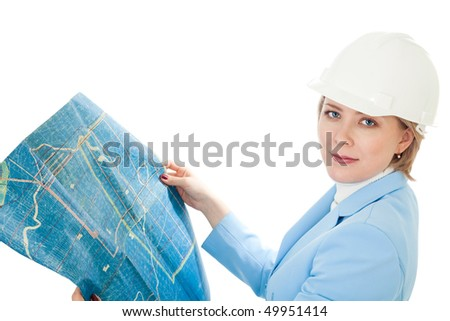 Woman in hard cap holding construction plan, isolated on white - stock photo