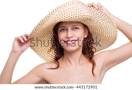 woman in hat on white background - stock photo