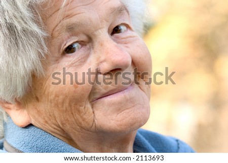 Woman in her nineties smiling