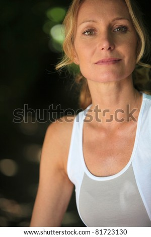 Woman in her workout gear - stock photo