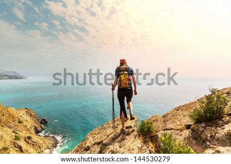 woman in hike - stock photo