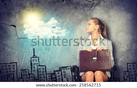 Woman in jacket and blouse smiling briefcase clipboard and looking at camera. Background sketch of houses, sun, rain and cloud - stock photo