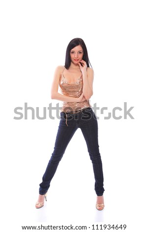 Woman in jeans isolated on white - stock photo