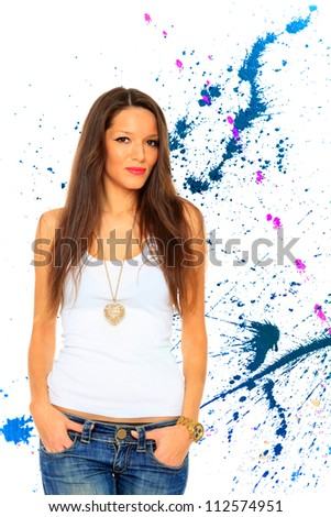 Woman in jeans over abstract background - stock photo