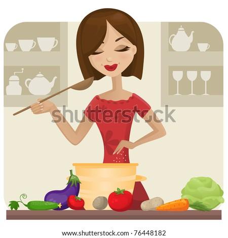 Woman in kitchen (raster version) - stock photo