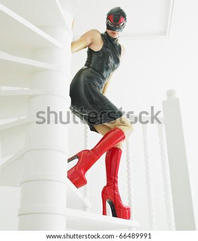 woman in latex - stock photo