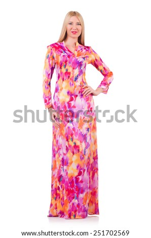 Woman in lond dress isolated on white - stock photo