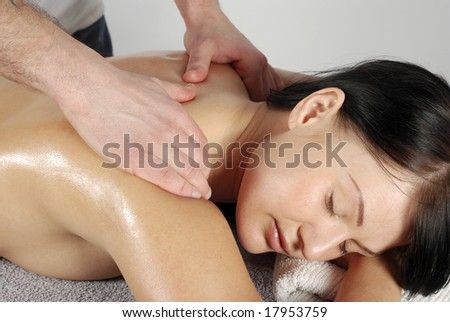 Woman in massage - stock photo