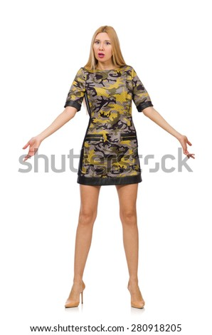 Woman in military style dress isolated on white