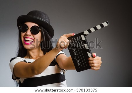 Woman in movie art concept - stock photo