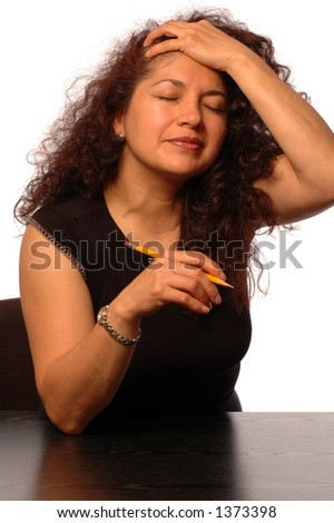 woman in office aggravated frustrated - stock photo