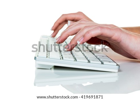 woman in office with computer - stock photo