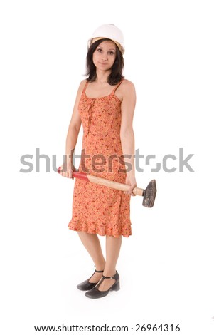 woman in orange dress and hardhat holding big hammer - stock photo