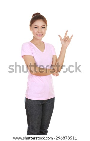 woman in pink t-shirt with hand sign I love you isolated on white background