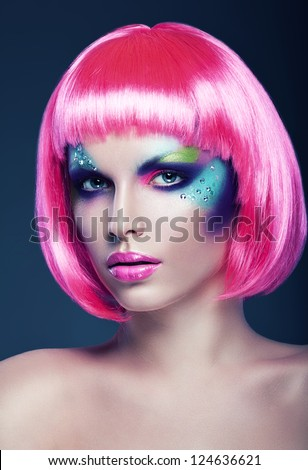 woman in pink wig - stock photo
