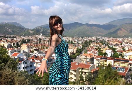 Woman in popular resort city of Marmaris in Turkey - stock photo