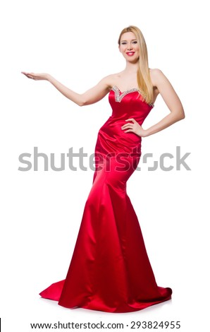 Woman in pretty red evening dress isolated on white - stock photo