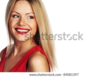 woman in red - stock photo