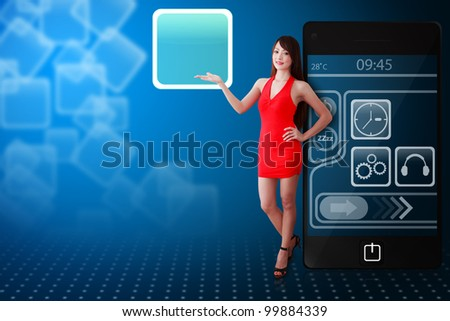Woman in red dress and icon from mobile phone