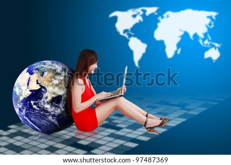 Woman in red dress and world map background : Elements of this image furnished by NASA - stock photo