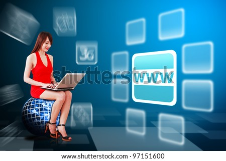 Woman in red dress and world wide web icon : Elements of this image furnished by NASA