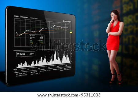 Woman in red dress look at the stock exchange graph report