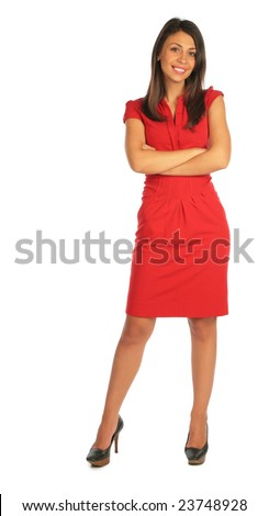 Woman in red dress stands cross arms on breast - stock photo