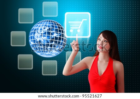 Woman in red dress touch the Cart icon - stock photo