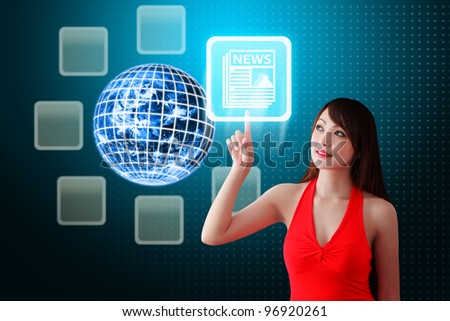 Woman in red dress touch the News icon : Elements of this image furnished by NASA - stock photo