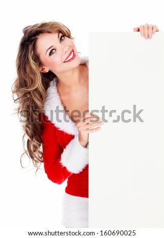 Woman in red dress with an empty billboard, white background  - stock photo