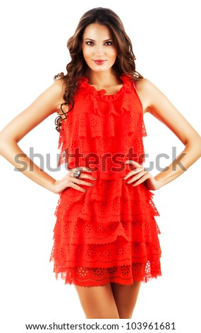 woman in red dress with long curly hair on white background