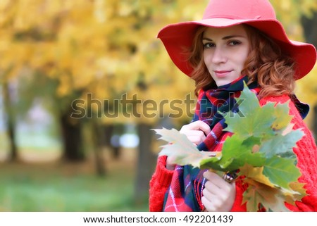 woman in red hat autumn outdoor
