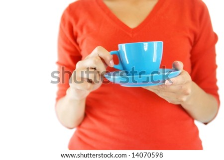 woman in red  hold blue cup of coffee - stock photo