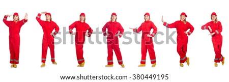Woman in red overalls isolated on white - stock photo