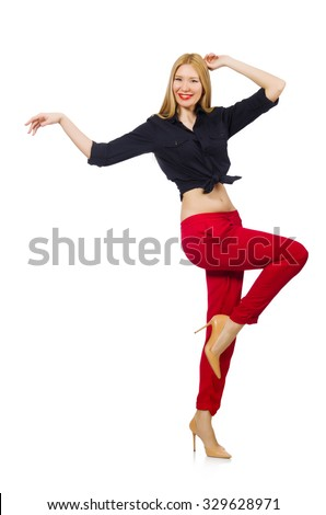 Woman in red pants isolated on white - stock photo