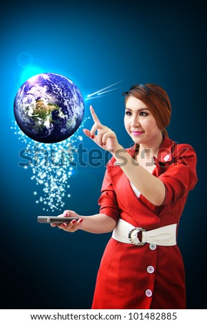 Woman in red touch the digital world from smart phone : Elements of this image furnished by NASA