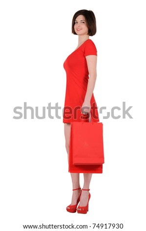 woman in red with bags, isolated on white