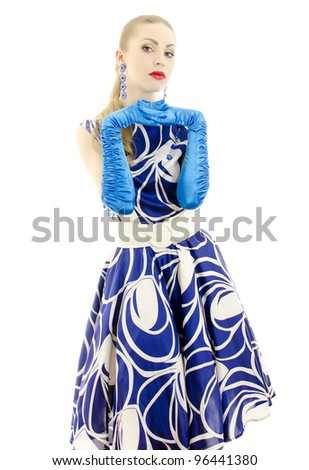 Woman in retro style posing. Isolated over white background.