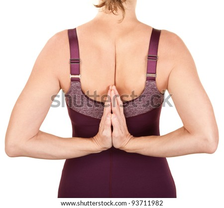 Woman in reverse namaskar over white background - stock photo