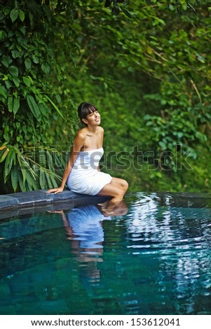 woman in river spa