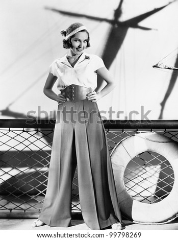 Woman in sailor outfit - stock photo