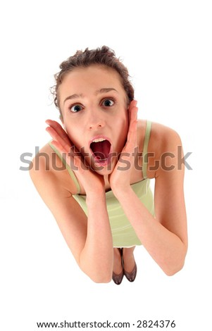 Woman in shock - stock photo