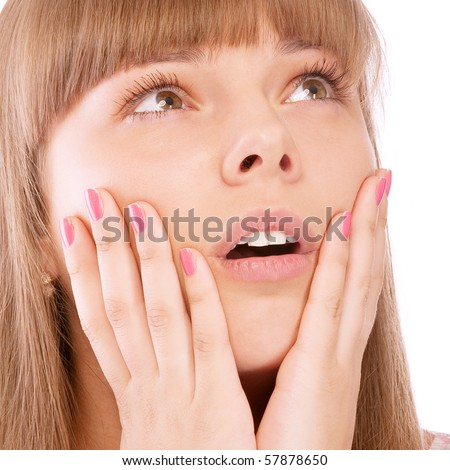 Woman in shock, isolated on white background. - stock photo