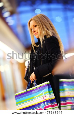 woman in shop center - stock photo