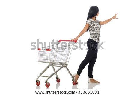 Woman in shopping concept on white - stock photo